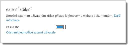 Obrázek znázorňující vypínač, který umožňuje externím uživatelům přístup k týmovému webu a dokumentům