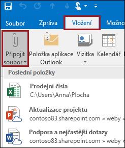 Připojení souboru v Outlooku 2016