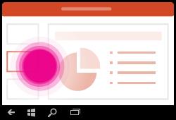 Gesto změny snímků v PowerPointu pro Windows Mobile
