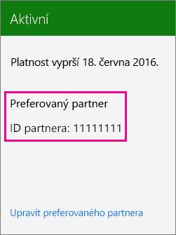 Snímek obrazovky zobrazující ID partnera přidružené k předplatnému Office 365
