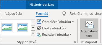 Tlačítko Alternativní text na pásu karet v Outlooku pro Windows