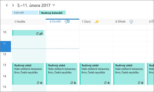 Snímek Outlook Kalendáře se sdílenou rodinnou událostí