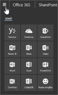 Otevřený spouštěč aplikací SharePointu Online App se zvýrazněným tlačítkem spouštěče