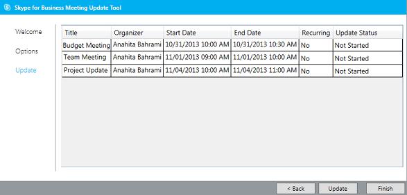 Snímek obrazovky aktualizace nástroje pro migraci schůzek