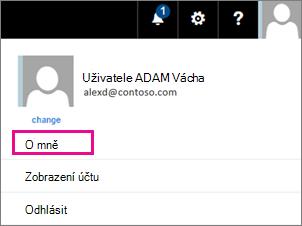 Snímek obrazovky s nabídkou účet uživatele v Office 365