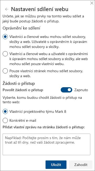 Snímek obrazovky s panelem nastavení sdílení webu.