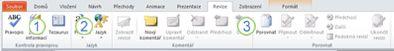 Karta Revize na pásu karet aplikace PowerPoint 2010