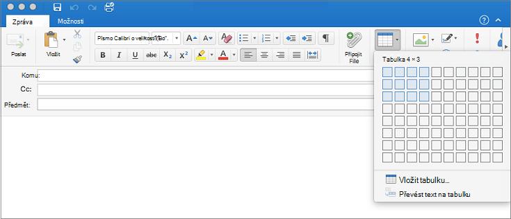 Messae e-mailu se zobrazí výběr tabulky