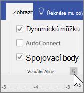Snímek obrazovky s možnostmi zobrazení s vybranou možností dynamické mřížky a spojovací body
