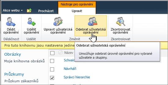 Tlačítko Odebrat uživatele oprávnění
