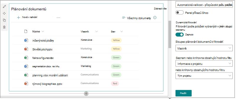 Knihovna dokumentů s otevřeným podoknem možností dynamického filtrování