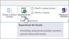 Tlačítko Exportovat do Excelu zvýrazněné na pásu karet naSharePointu