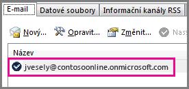 Účet v dialogovém okně Nastavení účtu v Outlooku 2013