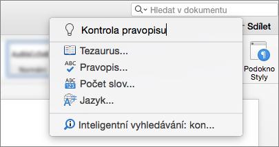 Pole Řekněte mi hledat ve Wordu for Mac 2016