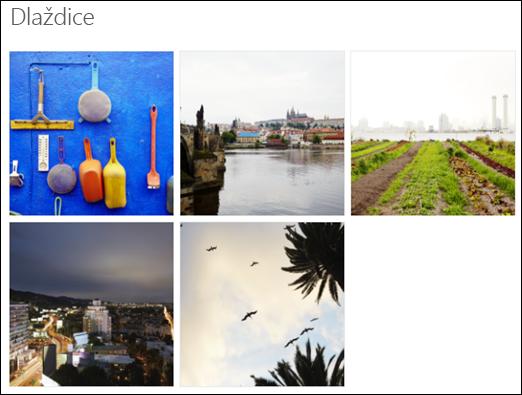 Zobrazení dlaždic webové části Galerie obrázků