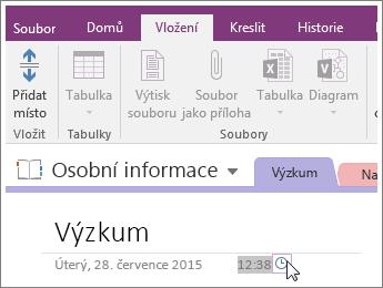 Snímek obrazovky s postupem změny časového razítka na stránce v OneNotu 2016