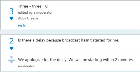 Zobrazení moderátora v Q & panelu