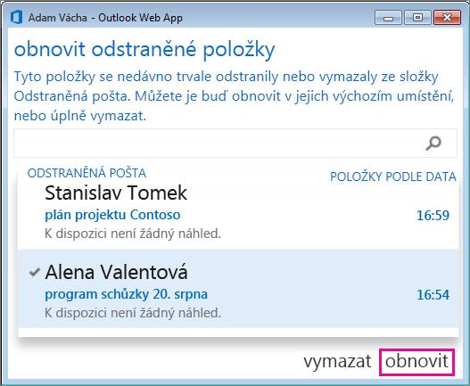 Dialog Obnovit odstraněnou poštu v Outlook Web Appu