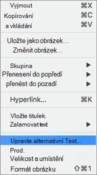 Možnost alternativní text v místní nabídce ve Wordu