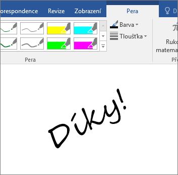 Zobrazuje příklad rukopisného textu ve wordovém dokumentu.