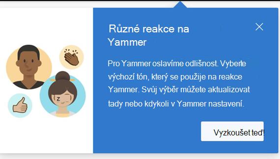 Snímek obrazovky s dialogem, které uživatele upozorňuje, že jsou k dispozici různé reakce a jak je nastavit
