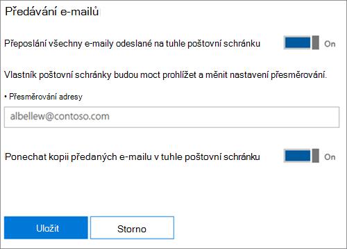 Snímek obrazovky: Zadejte přesměrování e-mailová adresa