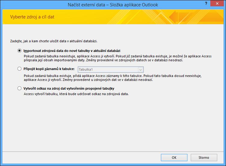 Vyberte, jestli chcete složku Outlooku importovat, připojit nebo na ni vytvořit odkaz.