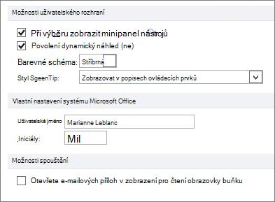 Panely aplikace Word 2010 obecných možností