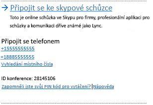 Uživatelské rozhraní připojení ke schůzce Skypu