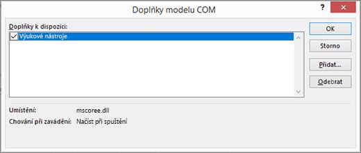 Spravovat: Doplňky modelu COM