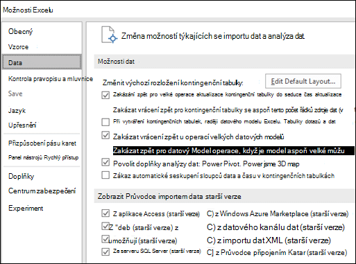 Možnosti dat přesunou ze souboru > Možnosti > Upřesnit oddíl pro nové karty s názvem Data v části Soubor > Možnosti.