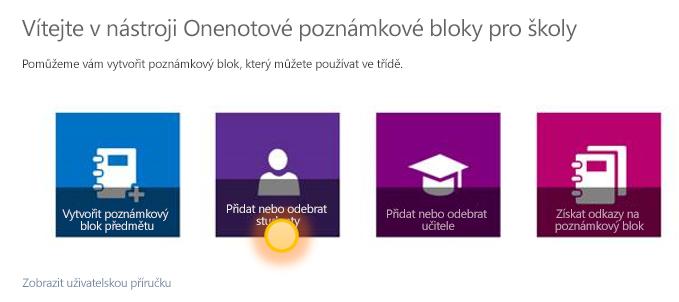 Snímek obrazovky, který ukazuje, jak přidat nebo odebrat studenty.