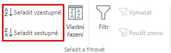 Vybraná tlačítka Seřadit vzestupně / Seřadit sestupně