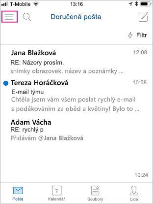 Domovská stránka Outlooku Mobile se zvýrazněným tlačítkem nabídky