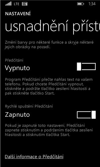 Nastavení programu Předčítání ve Windows Phonu