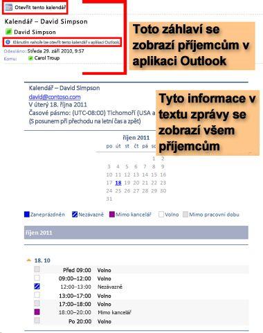 Příklad kalendáře doručeného pomocí funkce Odeslat kalendář e-mailem