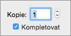 Zadejte nebo použití ovládacího prvku šipku nastavit počet kopií k tisku.