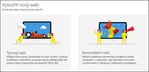 Volba typu webu v SharePointu Online