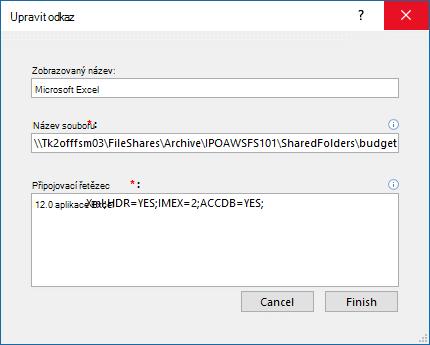 Úprava dialogového okna odkaz pro zdroj dat aplikace Excel