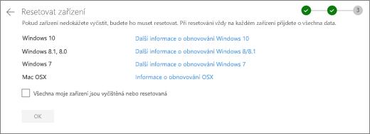 Snímek obrazovky s obrazovkou Ostatní zařízení na OneDrive webu