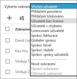 V seznamu Vyberte zobrazení vyberte zobrazení Uživatelé bez licence.