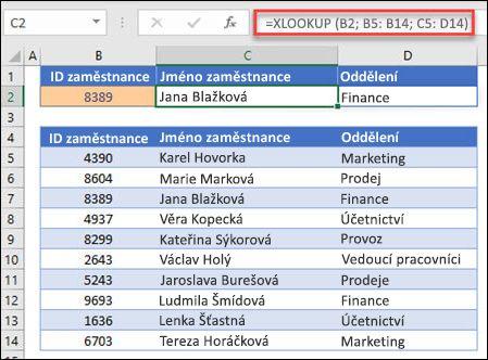 Příklad funkce XLOOKUP, která se používá k vrácení jména zaměstnance a oddělení na základě IDt zaměstnanců. Vzorec je: =XLOOKUP(B2;B5:B14;C5:D14;0;1)