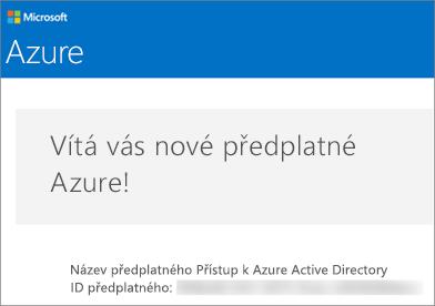 Takto vypadá e-mail od týmu, který spravuje účty Azure