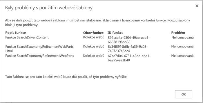 Snímek obrazovky s chybovou zprávou, která se může zobrazit, když chybějící funkce v SharePointu Online zabrání vytvoření webu.