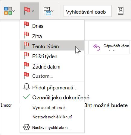 Označení zprávy příznakem pro zpracování v Outlooku