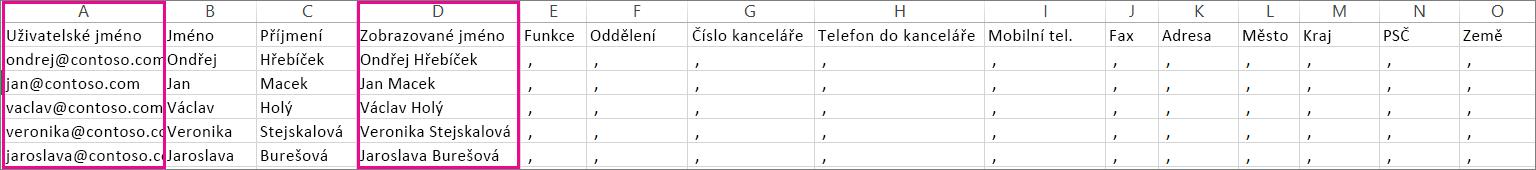 Ukázkový soubor .csv, ve kterém jsou zadané prázdné řádky