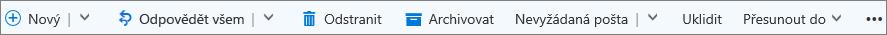 Panel příkazů Outlook.com, který se zobrazí při výběru zprávy