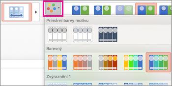 Změna barevného schématu časové osy