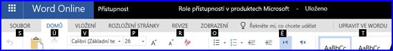 Zobrazení přístupových kláves na pásu karet v zobrazení pro úpravy Wordu Online