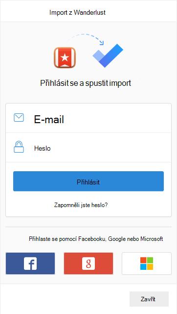 Výzva k přihlášení ke spuštění importu s možností přihlášení pomocí e-mailu a hesla nebo pomocí Facebooku, Google nebo Microsoft